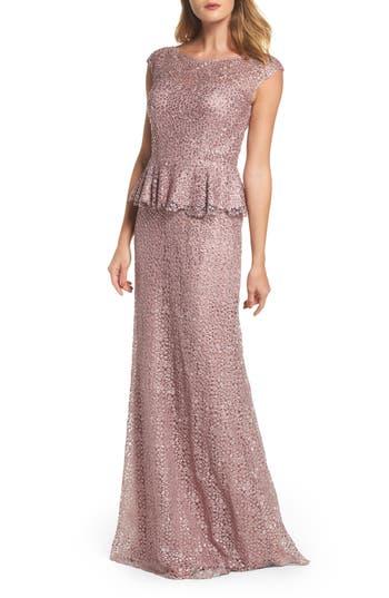 Women's La Femme Embellished Lace Peplum Gown