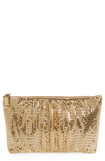 Whiting & Davis Shirred Mesh Pouch Clutch -