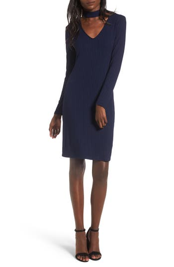 One Clothing Ribbed Choker Dress, Blue