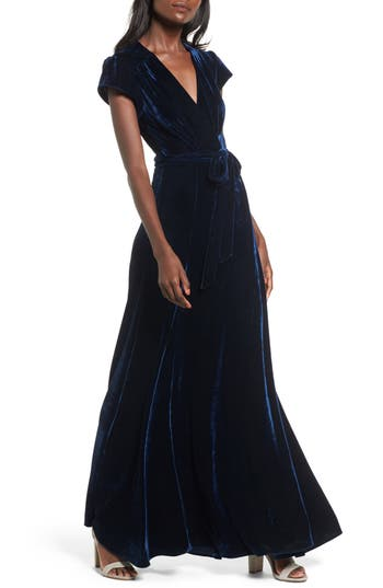 Women's Tularosa Sid Velvet Wrap Maxi Dress, Size Large - Blue