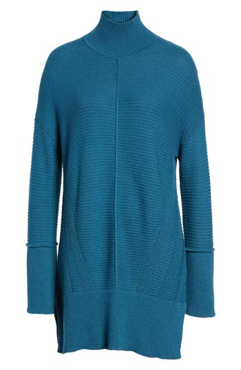 Women's Caslon Ribbed Turtleneck Tunic Sweater, Size X-Small - Blue