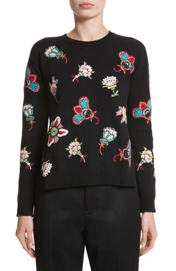 Women's Valentino Floral Embroidered Wool Sweater, Size Large - Black