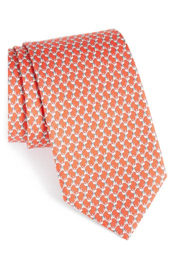 Men's Salvatore Ferragamo Riccardo Dog Print Silk Tie, Size Regular - Red