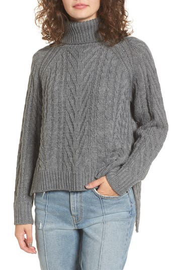 Women's Dreamers By Debut Cable Knit Turtleneck Sweater, Size X-Small - Grey