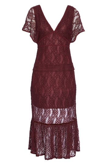 1930s Style Fashion Dresses Womens Foxiedox Cecila Lace Midi Dress $166.00 AT vintagedancer.com