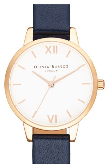 Women's Olivia Burton 'Midi Dial' Leather Strap Watch, 30Mm
