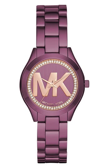 Women's Michael Kors Mini Slim Runway Crystal Bracelet Watch, 33Mm