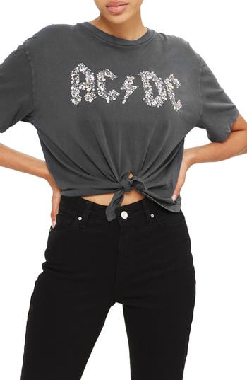 Women's Topshop By And Finally Knot Crop Ac/dc Tee