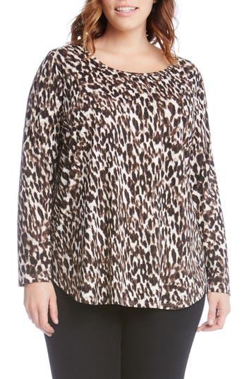 Plus Size Women's Karen Kane Print Knit Shirttail Top