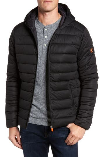 Men's Save The Duck Hooded Water Resistant Puffer Jacket