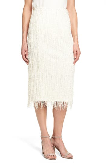 Women's Vince Camuto Fringe Knit Pencil Skirt, Size XX-Small - White