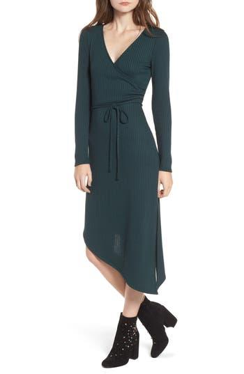 One Clothing Ribbed Knit Asymmetrical Wrap Midi Dress, Green
