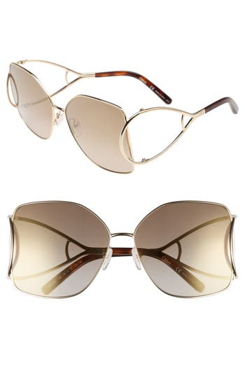 Women's Chloé 63Mm Wrapover Frame Sunglasses - Gold/ Peach