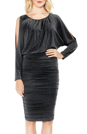 Vince Camuto Cold Shoulder Ruched Dress, Grey