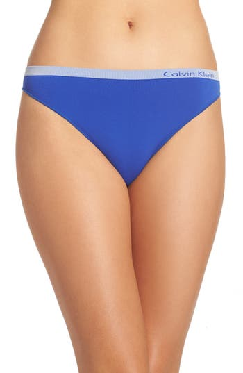 Women's Calvin Klein 'Pure' Seamless Thong, Size Small - Blue