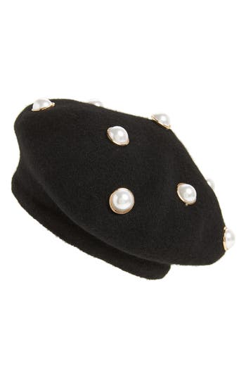 Women's Berry Imitation Pearl Embellished Beret - Black
