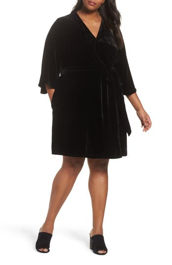 Plus Size Women's Eileen Fisher Velvet Wrap Dress, Size 1X - Black