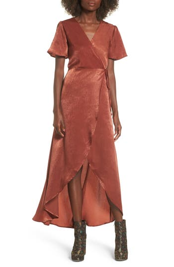 Women's J.o.a. Wrap Maxi Dress, Size X-Small - Brown