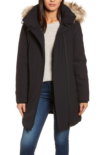 Women's Dkny Hooded Water Resistant Stretch Parka With Faux Fur Trim