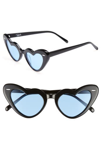 Women's Takesh J'Adore 46Mm Heart Sunglasses - Black/ Blue