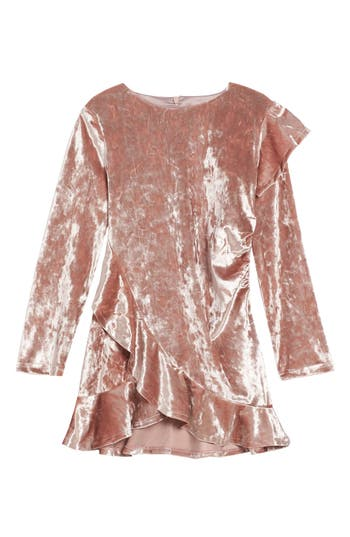 Girl's Bardot Junior Velour Dress, Size 6 - Pink