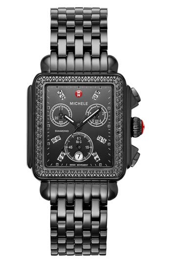 Women's Michele Deco Diamond Watch Head & Bracelet, 34Mm X 35Mm