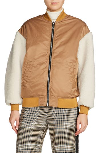 Maje Schott Genuine Shearling Sleeve Bomber Jacket, Brown