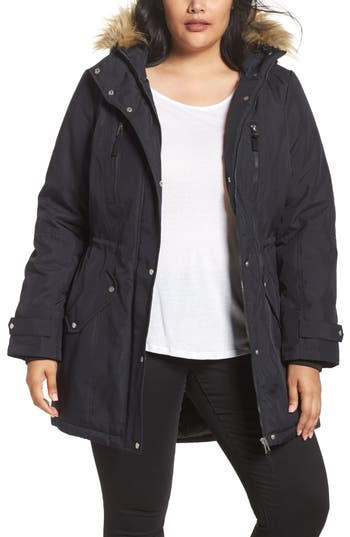 Plus Size Women's Junarose Expedition Track Faux Fur Trim Parka
