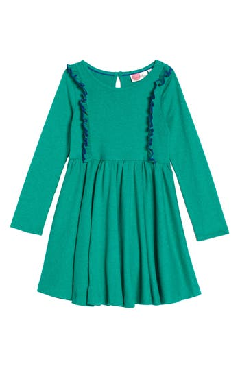 Girl's Mini Boden Ruffle Jersey Dress, Size 5-6Y - Green