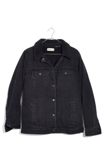 Women's Madewell Oversize Denim Jacket With Fleece Collar
