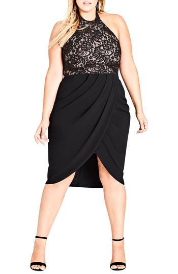 Plus Size City Chic Lady Portia Halter Dress, Black