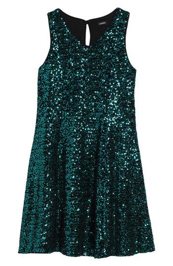 Girl's Zunie Sequin Velvet Skater Dress