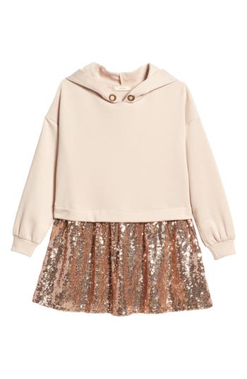 Girl's Soprano Hooded Sequin Dress, Size S (8-10) - Pink