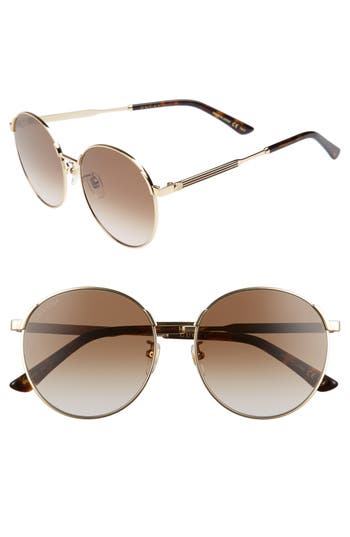 Gucci 5m Round Sunglasses - Gold/ Brown