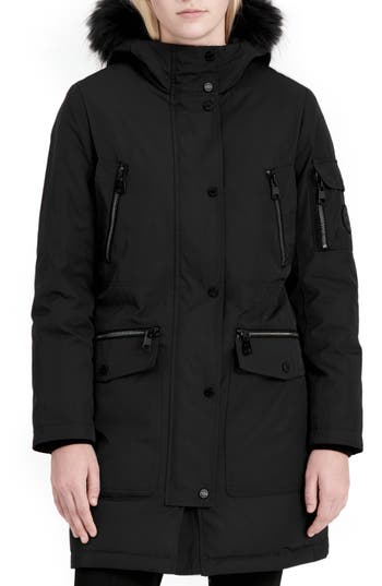 Women's Calvin Klein Expedition Hooded Down Parka With Faux Fur Trim, Size X-Small - Black