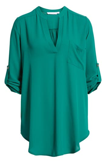 Women's Perfect Roll Tab Sleeve Tunic, Size X-Small - Green