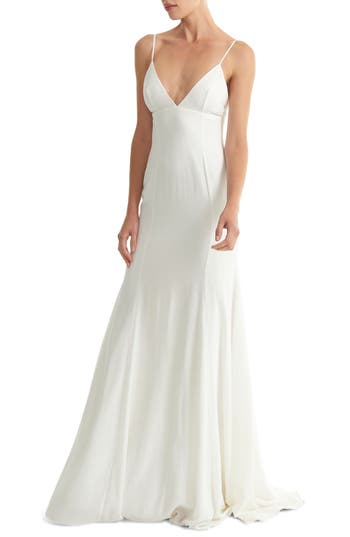 Joanna August Crosby Crepe Mermaid Gown, White