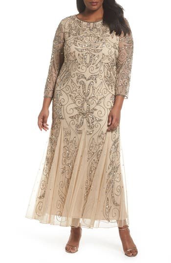1930s Art Deco Plus Size Dresses | Tea Dresses, Party Dresses Plus Size Womens Pisarro Nights Embellished Three Quarter Sleeve Gown Size 24W - Beige $218.00 AT vintagedancer.com