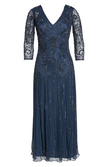 1920s Style Dresses, Flapper Dresses Pisarro Nights Beaded Mesh Tea Length Dress Size 4P - Blue $108.98 AT vintagedancer.com