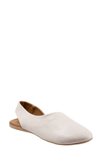 Bueno Keep Slingback Flats in Light Grey Leather