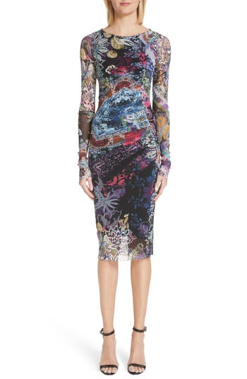 Fuzzi Floral Patchwork Print Long Sleeve Tulle Dress, Black