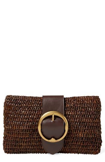 Polo Ralph Lauren Lennox Raffia   Leather Clutch - Brown In Dark Brown 3cf20f7b222a7