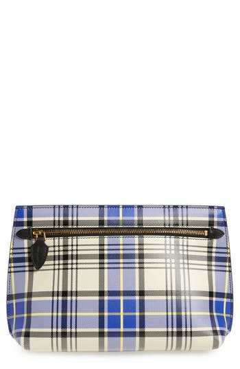Burberry Tartan Plaid Leather Clutch - Beige
