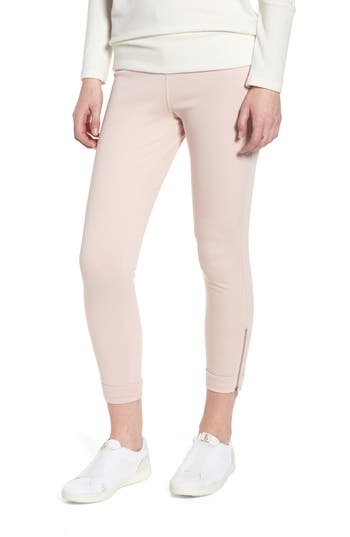 Lysse Cuff Crop Denim Leggings, Pink
