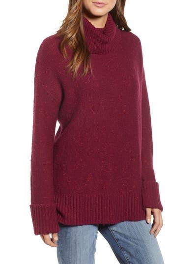 Caslon Roll Neck Cotton Wool Blend Sweater, Burgundy