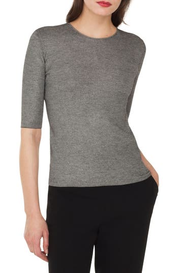Akris Elbow Sleeve Silk & Wool Sweater, Black