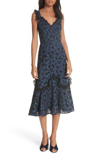 Rebecca Taylor Adriana Eyelet Midi Dress, Blue