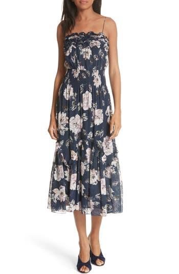Rebecca Taylor Magnolia Ruffle Smocked Waist Silk Blend Dress