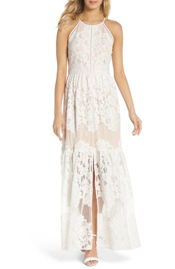 Eliza J Front Slit Lace Maxi Dress, Ivory