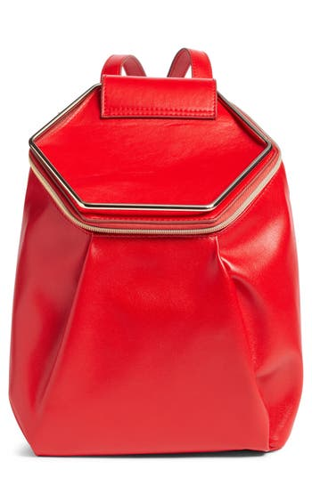 Leith Metal Handle Faux Leather Convertible Backpack - Red